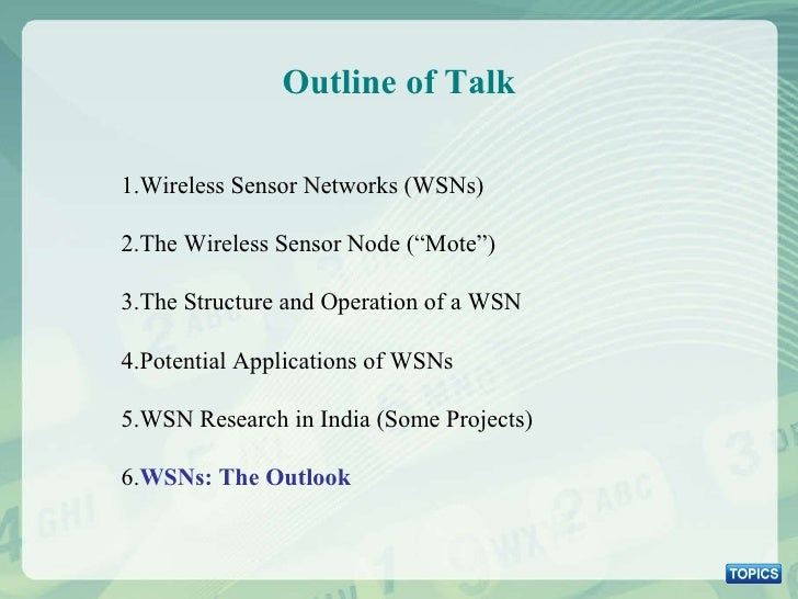 """Outline of Talk 1.Wireless Sensor Networks (WSNs) 2.The Wireless Sensor Node (""""Mote"""") 3.The Structure and Operation of a W..."""
