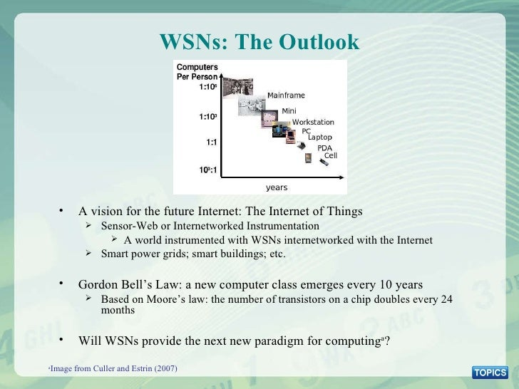 WSNs: The Outlook a Image from Culler and Estrin (2007) <ul><li>A vision for the future Internet: The Internet of Things <...