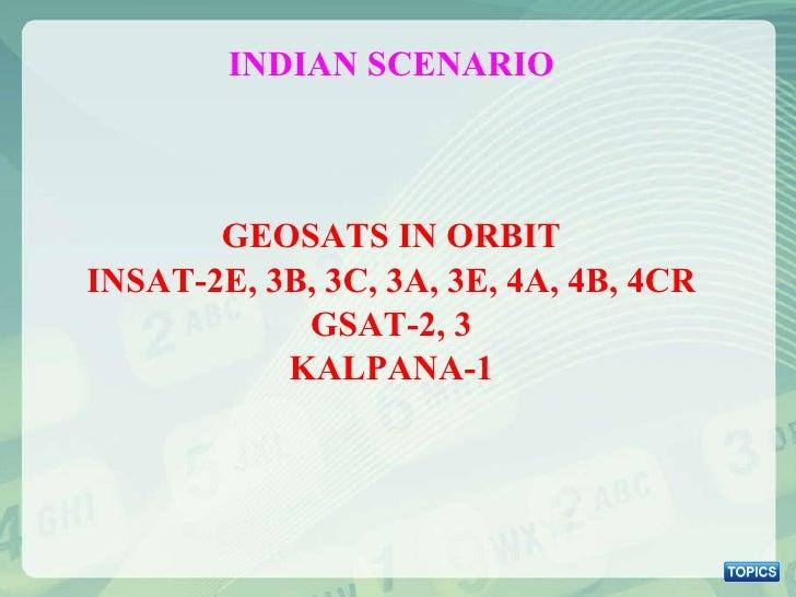 <ul><li>GEOSATS IN ORBIT </li></ul><ul><li>INSAT-2E, 3B, 3C, 3A, 3E, 4A, 4B, 4CR </li></ul><ul><li>GSAT-2, 3 </li></ul><ul...