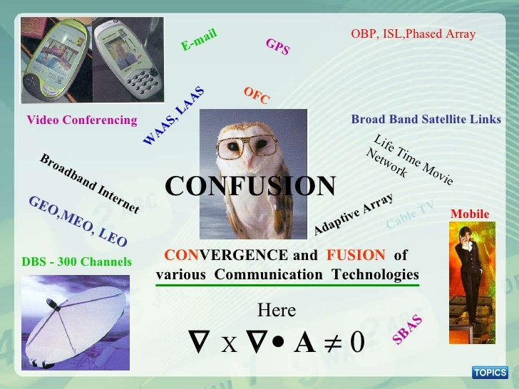 CONFUSION CON VERGENCE and  FUSION  of  various  Communication  Technologies Broad Band Satellite Links Video Conferencing...