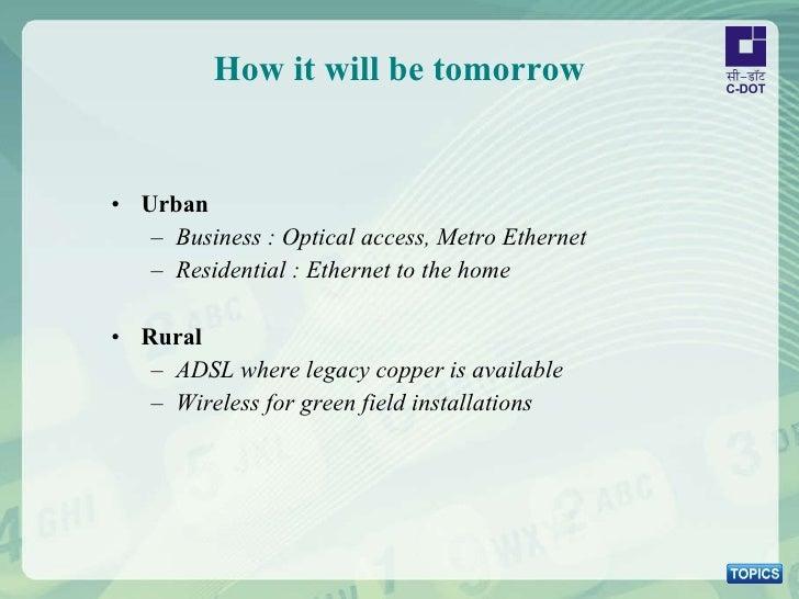 How it will be tomorrow <ul><li>Urban   </li></ul><ul><ul><li>Business : Optical access, Metro Ethernet </li></ul></ul><ul...