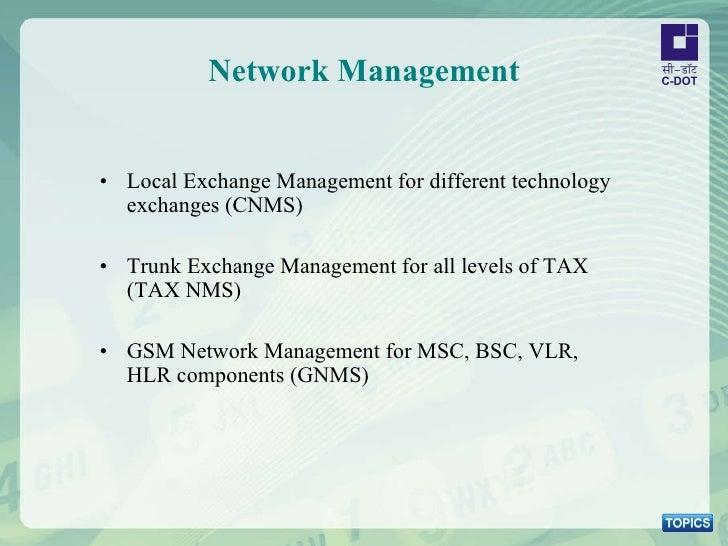 Network Management <ul><li>Local Exchange Management for different technology exchanges (CNMS) </li></ul><ul><li>Trunk Exc...