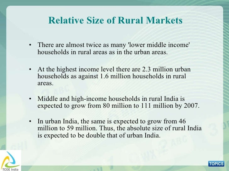 Relative Size of Rural Markets <ul><li>There are almost twice as many 'lower middle income' households in rural areas as i...