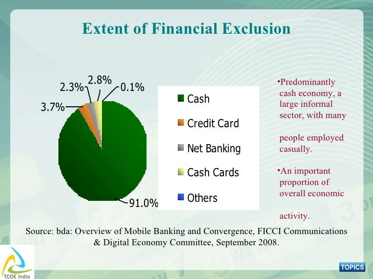 Extent of Financial Exclusion Source: bda: Overview of Mobile Banking and Convergence, FICCI Communications & Digital Econ...