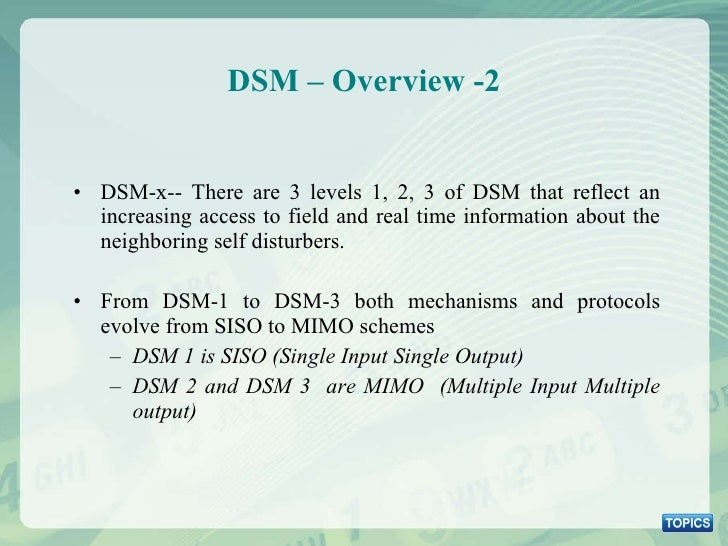 DSM – Overview -2 <ul><li>DSM-x-- There are 3 levels 1, 2, 3 of DSM that reflect an increasing access to field and real ti...