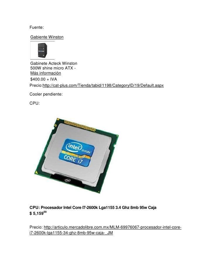 Fuente:Gabiente WinstonGabinete Acteck Winston 500W shine micro ATX -Más información$400.00+ IVA<br />Precio:http://cat-p...