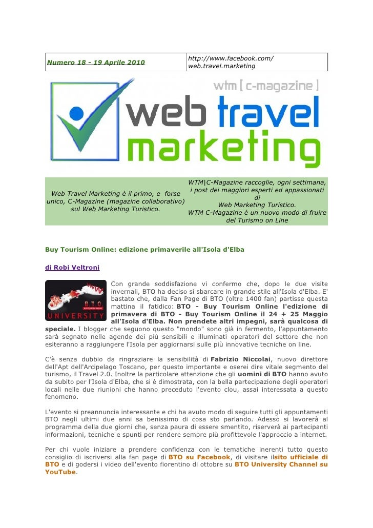 http://www.facebook.com/ Numero 18 - 19 Aprile 2010                                                web.travel.marketing   ...