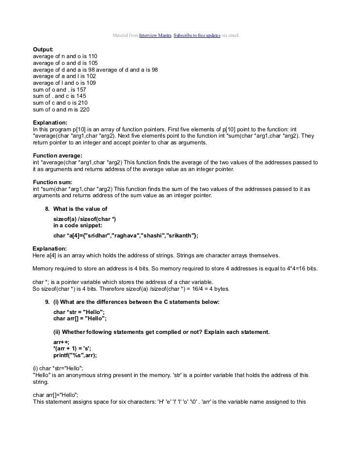 C Language Interview Questions Answers Pdf