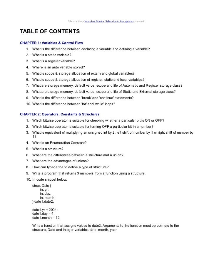 Top C Language Interview Questions and Answer