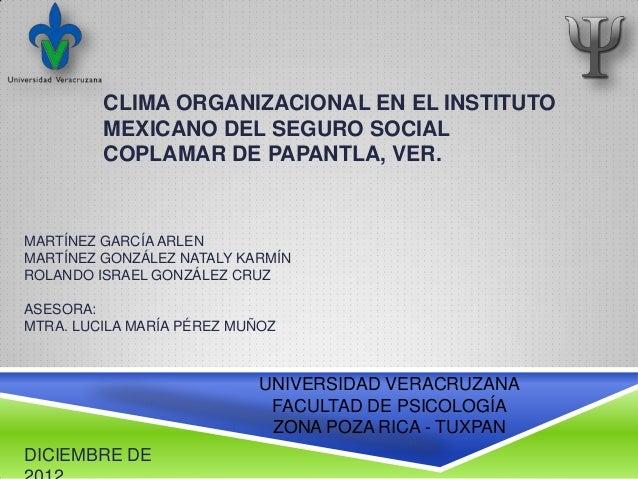 CLIMA ORGANIZACIONAL EN EL INSTITUTO         MEXICANO DEL SEGURO SOCIAL         COPLAMAR DE PAPANTLA, VER.MARTÍNEZ GARCÍA ...