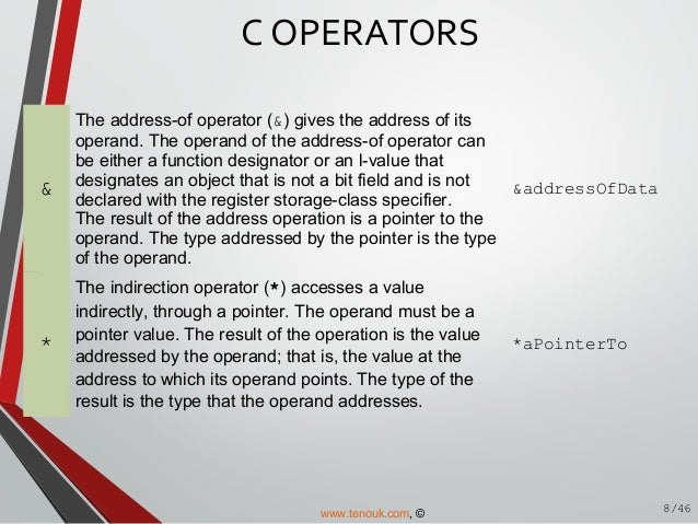 C operator and expression