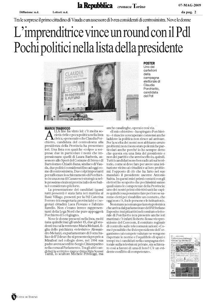 C. Porchietto La Repubblica Torino 07.05.09