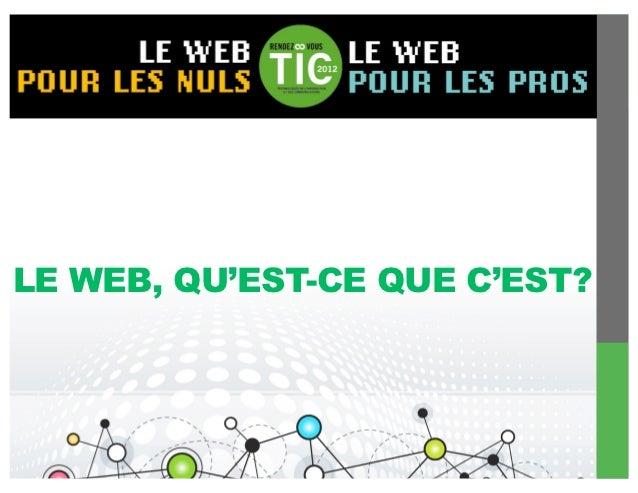 LE WEB, QU'EST-CE QUE C'EST?