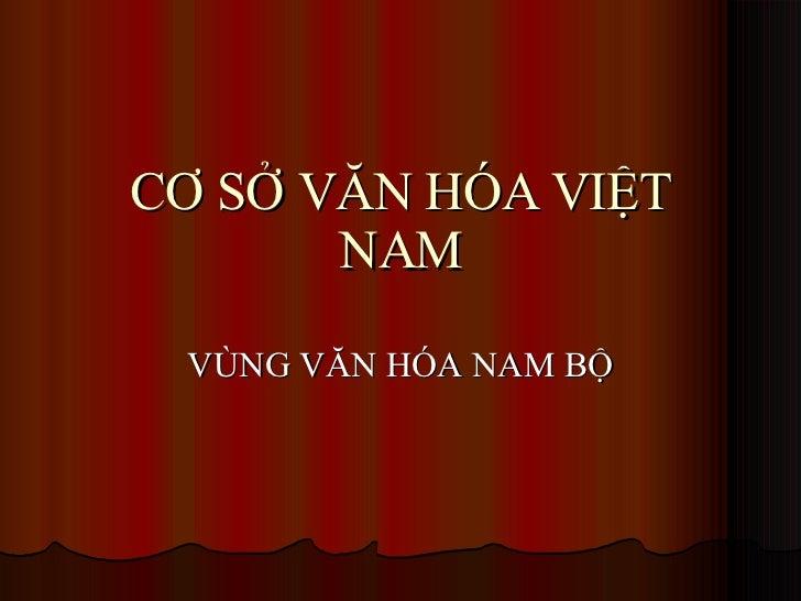 CƠ SỞ VĂN HÓA VIỆT NAM VÙNG VĂN HÓA NAM BỘ