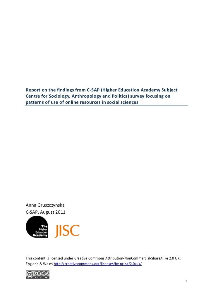 Report on the findings from C-SAP (Higher Education Academy SubjectCentre for Sociology, Anthropology and Politics) survey...