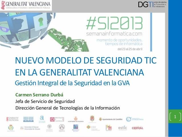 NUEVO MODELO DE SEGURIDAD TICEN LA GENERALITAT VALENCIANAGestión Integral de la Seguridad en la GVACarmen Serrano DurbáJef...