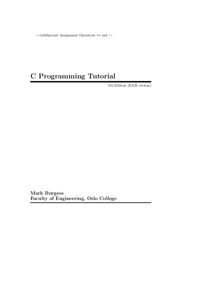 ---titleSpecial Assignment Operators ++ and --C Programming Tutorial                                             4th Editi...