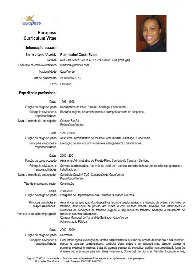 europass curriculum vitae portugues instruções