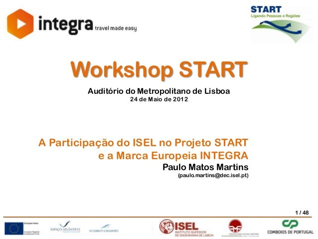 Workshop START Auditório do Metropolitano de Lisboa 24 de Maio de 2012  Workshop START Auditório do Metropolitano de Lisbo...