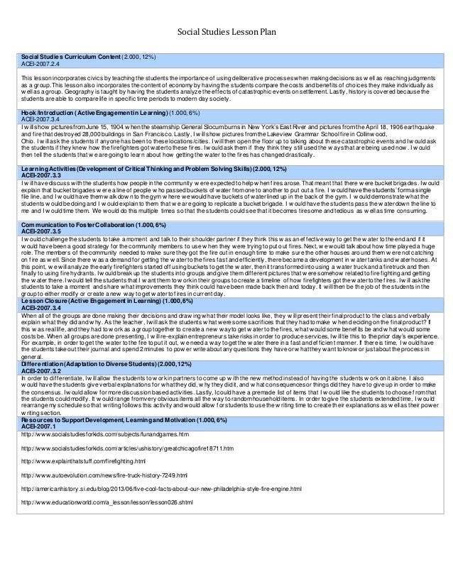 Social Studies Unit Example Plans