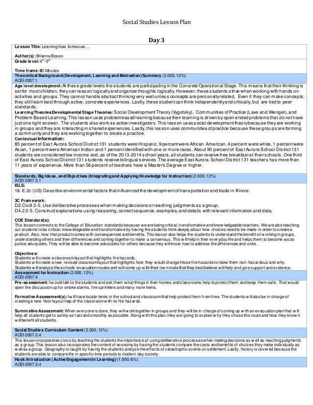 Sample Unit Plan For Social Studies