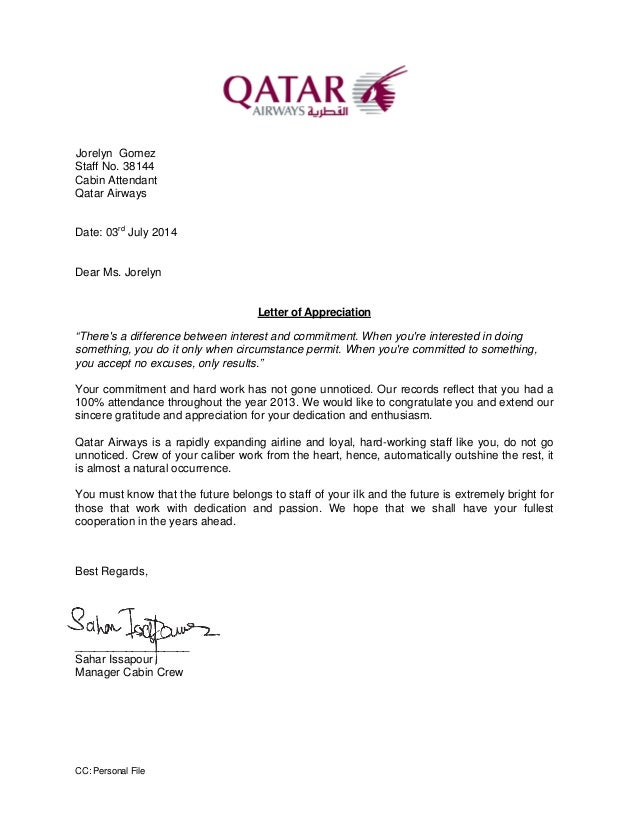 Perfect Letter Of Appreciation 2013. CC: Personal File Jorelyn Gomez Staff No.  38144 Cabin Attendant Qatar Airways Date: And Appreciation Letter