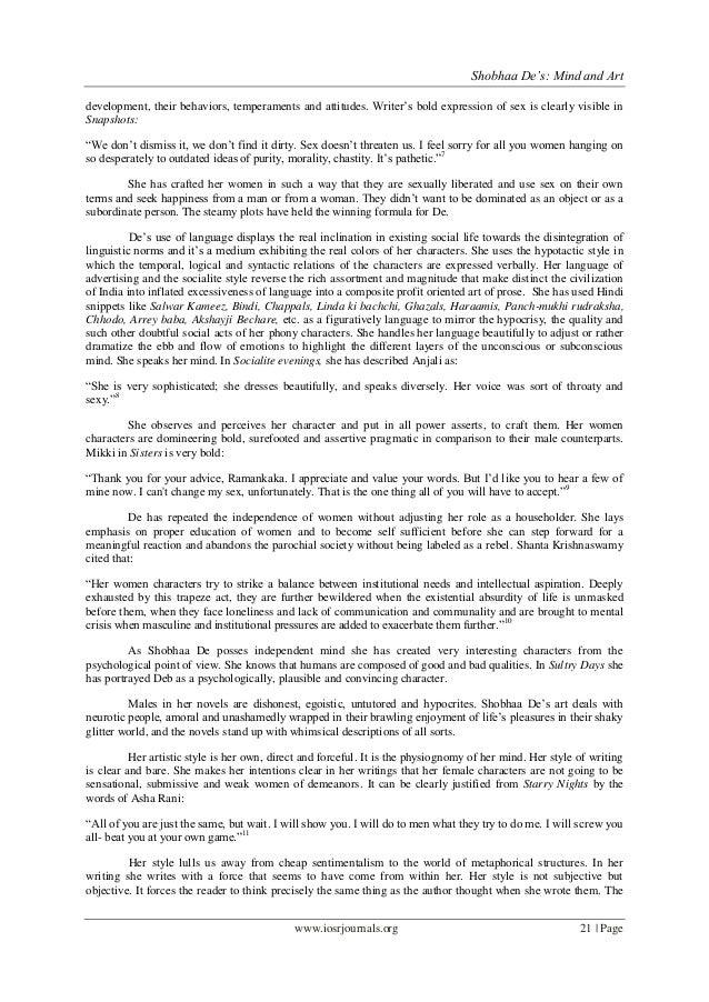 "Shobhaa De's: Mind and Artwww.iosrjournals.org 21 | Pagedevelopment, their behaviors, temperaments and attitudes. Writer""s..."