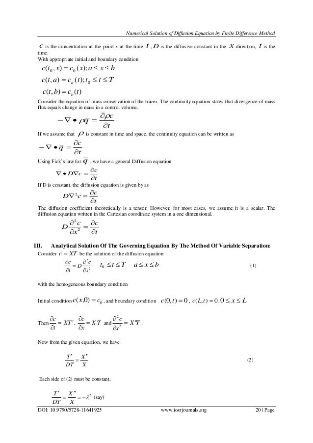 Numerical Solution of Diffusion Equation by Finite Difference Method