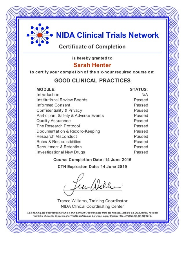 Certificate Nida Clinical Trials Network