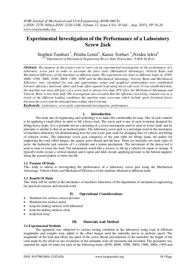 IOSR Journal of Mechanical and Civil Engineering (IOSR-JMCE) e-ISSN: 2278-1684,p-ISSN: 2320-334X, Volume 12, Issue 4 Ver. ...