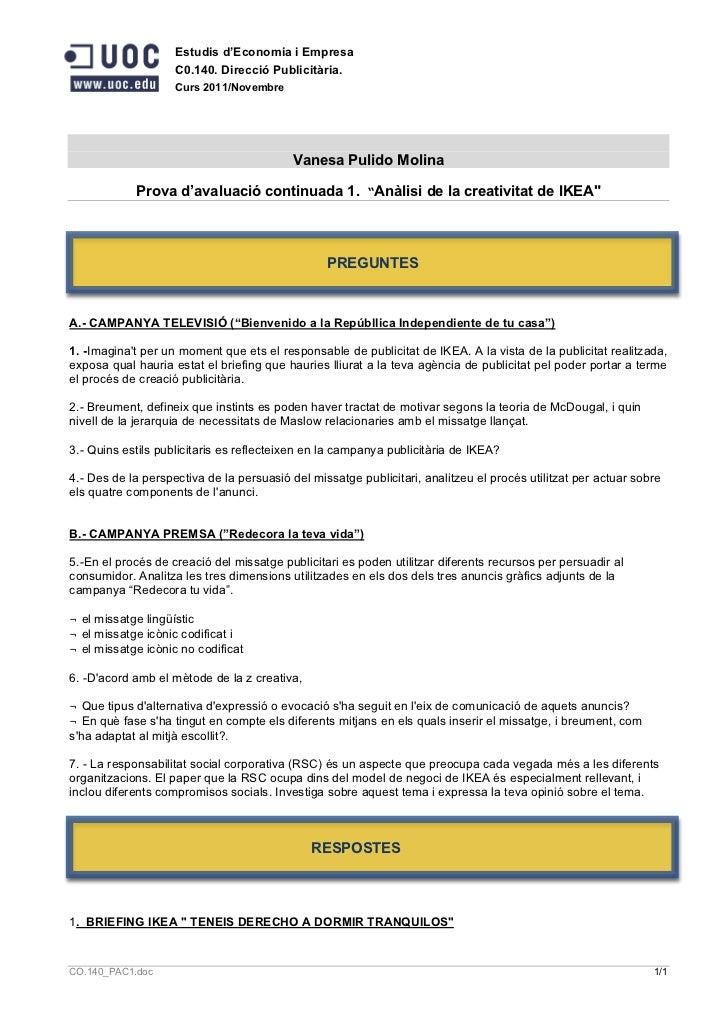 Estudis d'Economia i Empresa                    C0.140. Direcció Publicitària.                    Curs 2011/Novembre      ...