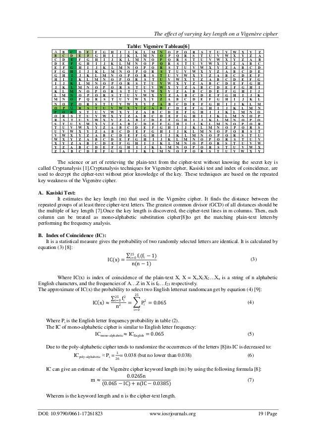 CRYPTANALYSIS OF VIGENERE CIPHER PDF DOWNLOAD