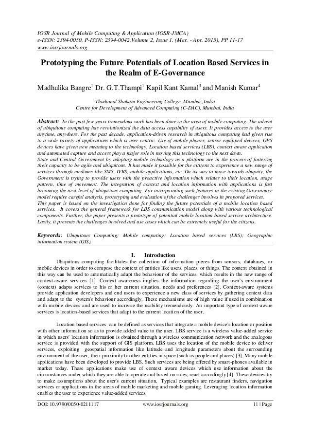 IOSR Journal of Mobile Computing & Application (IOSR-JMCA) e-ISSN: 2394-0050, P-ISSN: 2394-0042.Volume 2, Issue 1. (Mar. -...