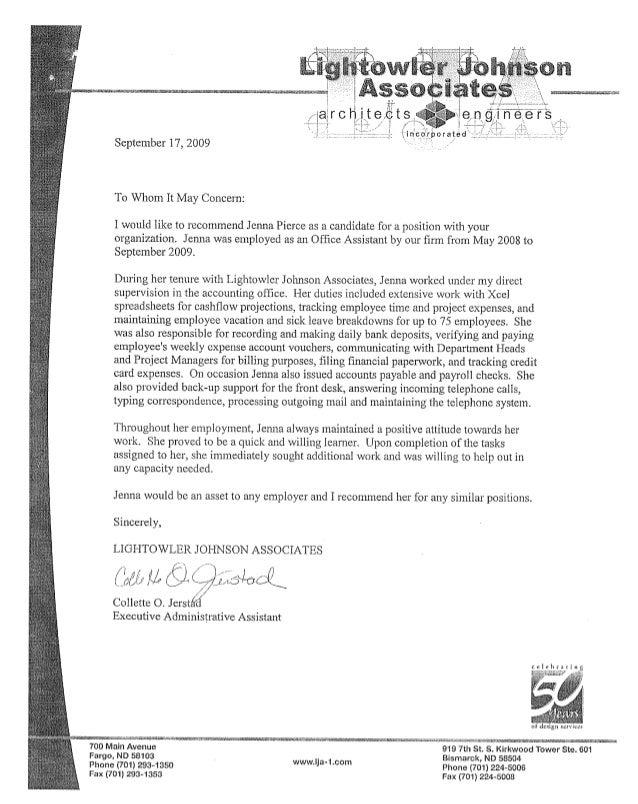 Jenna Pierce Recommendation Letters