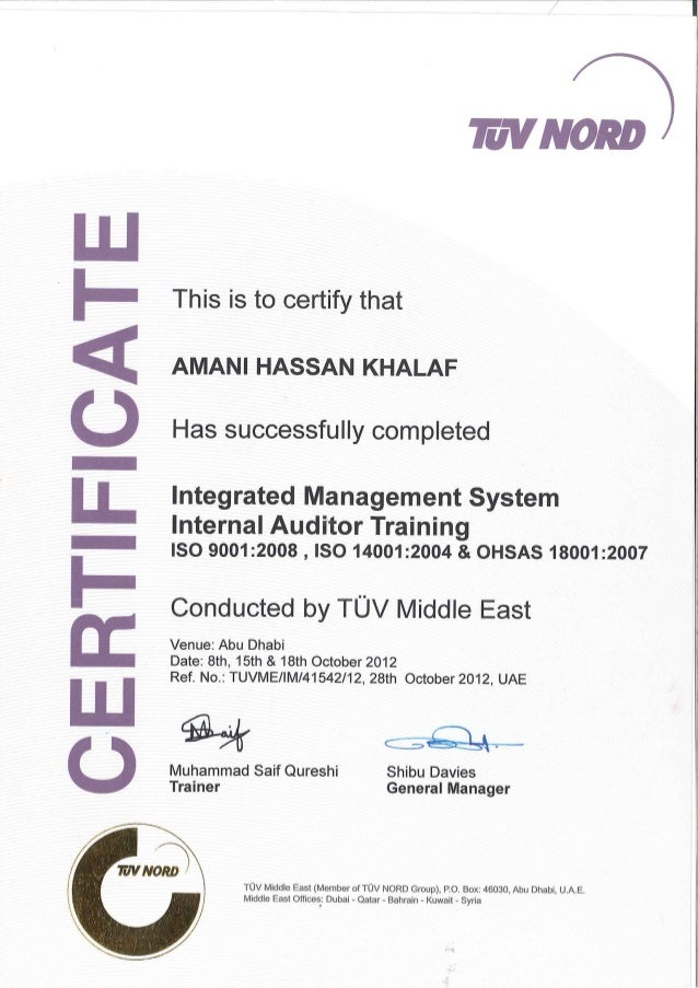 Integrated Management System Internal Auditor Training Certificate
