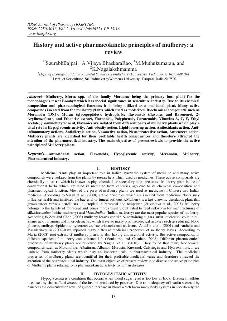 IOSR Journal of Pharmacy (IOSRPHR)ISSN: 2250-3013, Vol. 2, Issue 4 (July2012), PP 13-16www.iosrphr.org   History and activ...