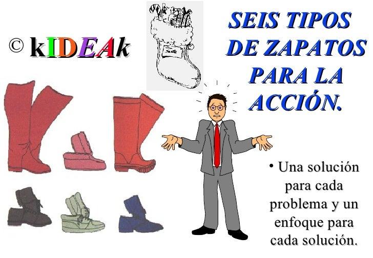 <ul><li>SEIS TIPOS DE ZAPATOS PARA LA ACCIÓN. </li></ul><ul><li>Una solución para cada problema y un enfoque para cada sol...