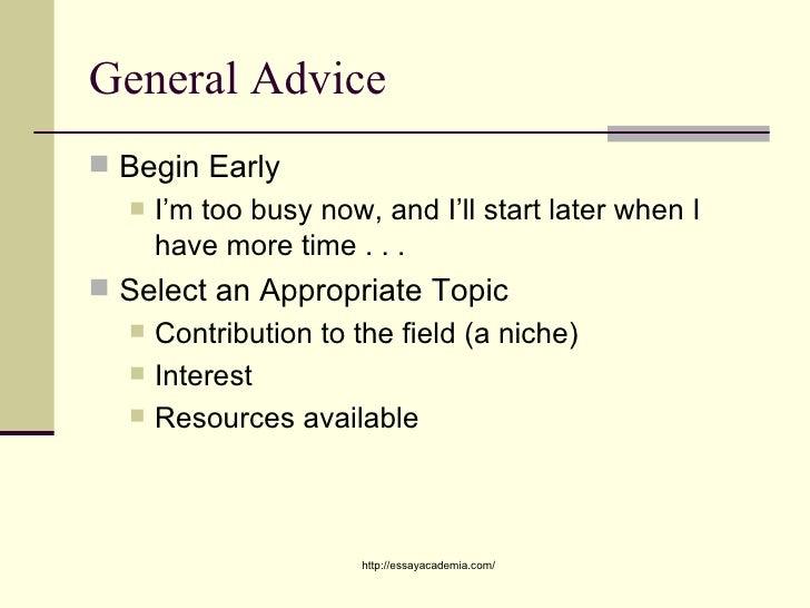 advice on academic writing