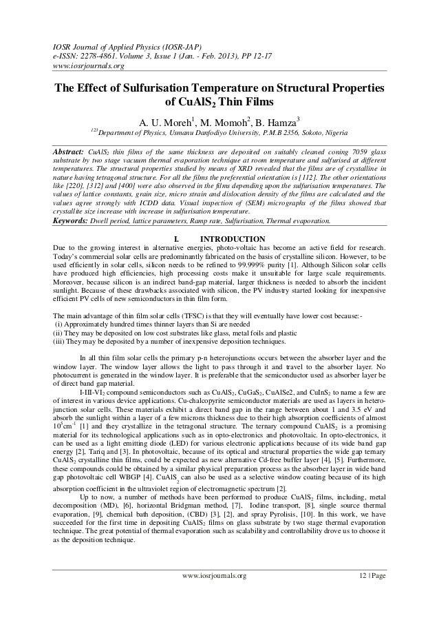 IOSR Journal of Applied Physics (IOSR-JAP)e-ISSN: 2278-4861. Volume 3, Issue 1 (Jan. - Feb. 2013), PP 12-17www.iosrjournal...