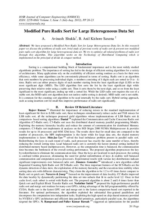 IOSR Journal of Computer Engineering (IOSRJCE) ISSN: 2278-0661 Volume 3, Issue 1 (July-Aug. 2012), PP 20-23 www.iosrjourna...