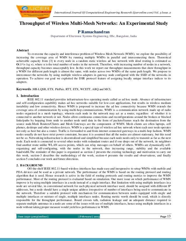 International Journal Of Computational Engineering Research (ijceronline.com) Vol. 3 Issue. 2  Throughput of Wireless Mult...