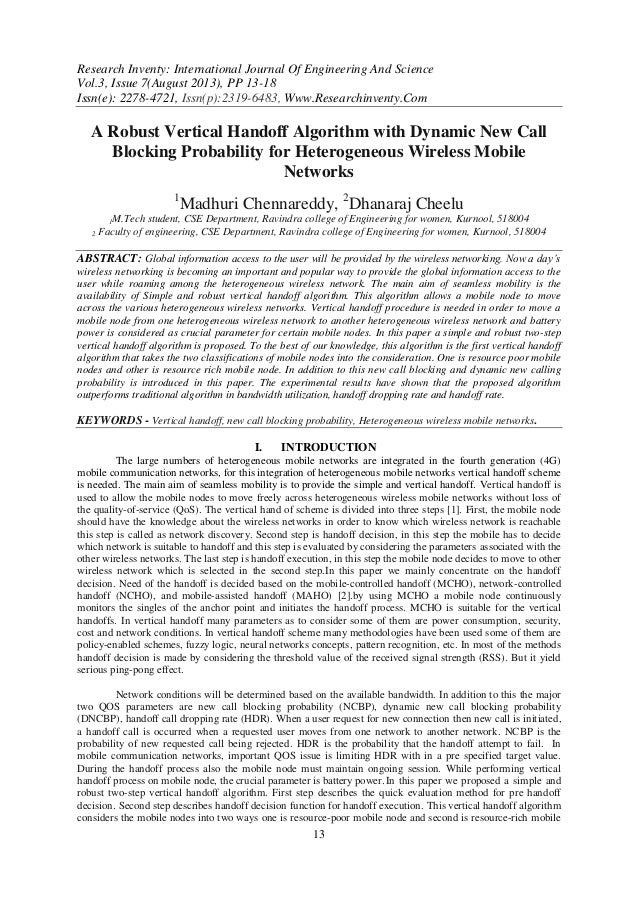 Research Inventy: International Journal Of Engineering And Science Vol.3, Issue 7(August 2013), PP 13-18 Issn(e): 2278-472...