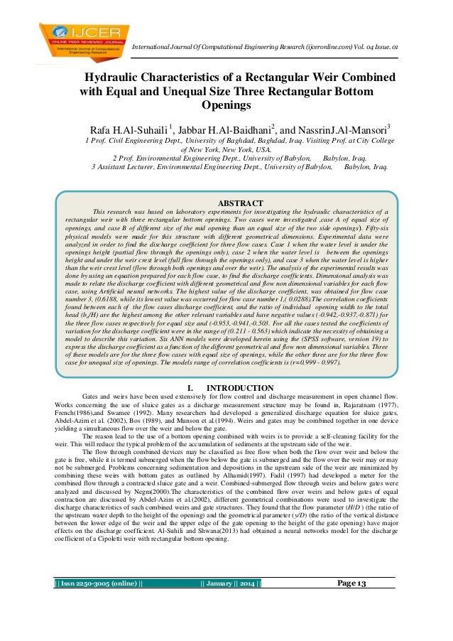 International Journal Of Computational Engineering Research (ijceronline.com) Vol. 04 Issue. 01  Hydraulic Characteristics...