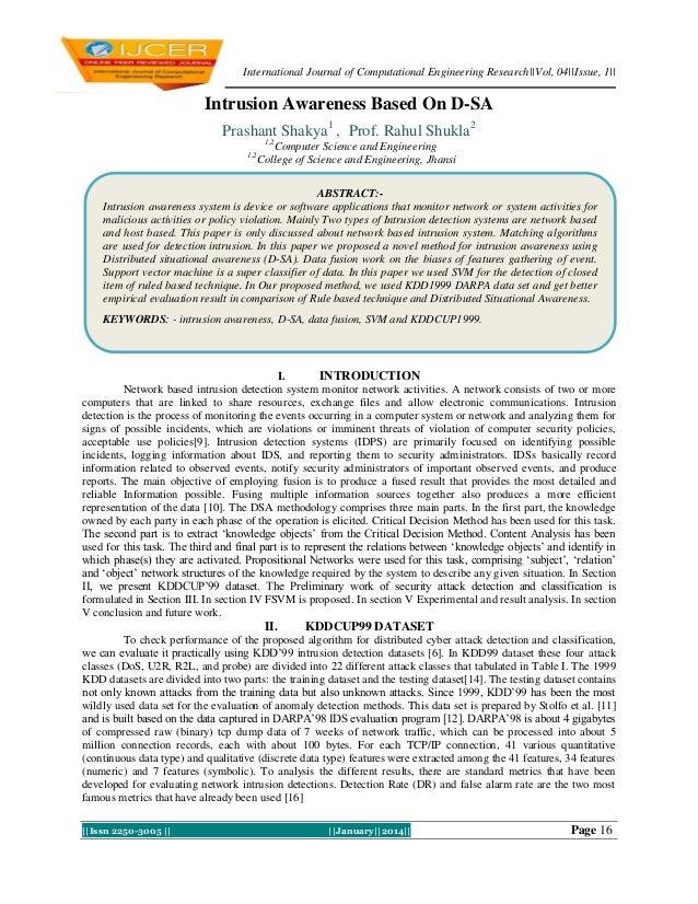 International Journal of Computational Engineering Research||Vol, 04||Issue, 1||  Intrusion Awareness Based On D-SA Prasha...