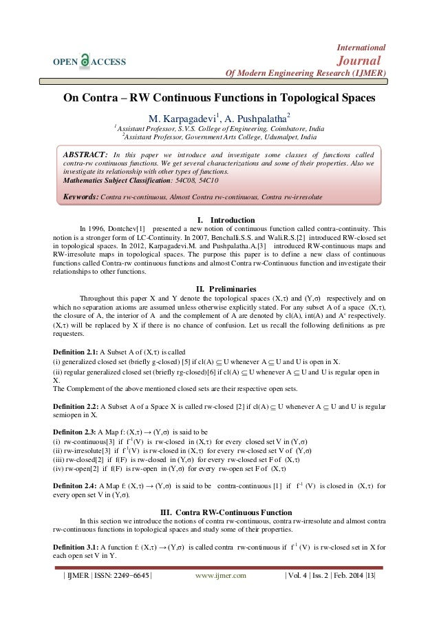 International OPEN  Journal  ACCESS  Of Modern Engineering Research (IJMER)  On Contra – RW Continuous Functions in Topolo...