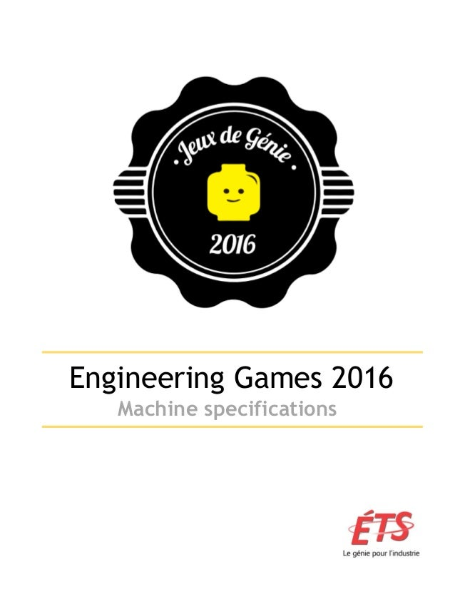 Engineering Games 2016 Machine specifications