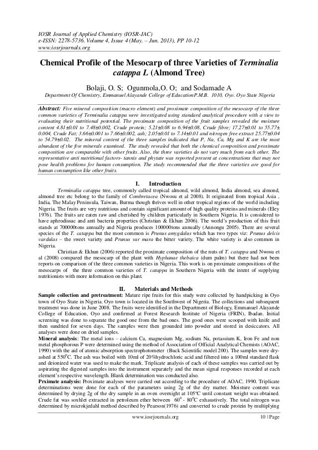 IOSR Journal of Applied Chemistry (IOSR-JAC) e-ISSN: 2278-5736.Volume 4, Issue 4 (May. – Jun. 2013), PP 10-12 www.iosrjour...