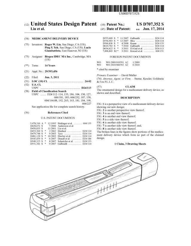 (12) United States Design Patent (10) Patent N0.: Liu et a]. USOOD707352$ US D707,352 S (45) Date of Patent: *9: Jun. 17, ...