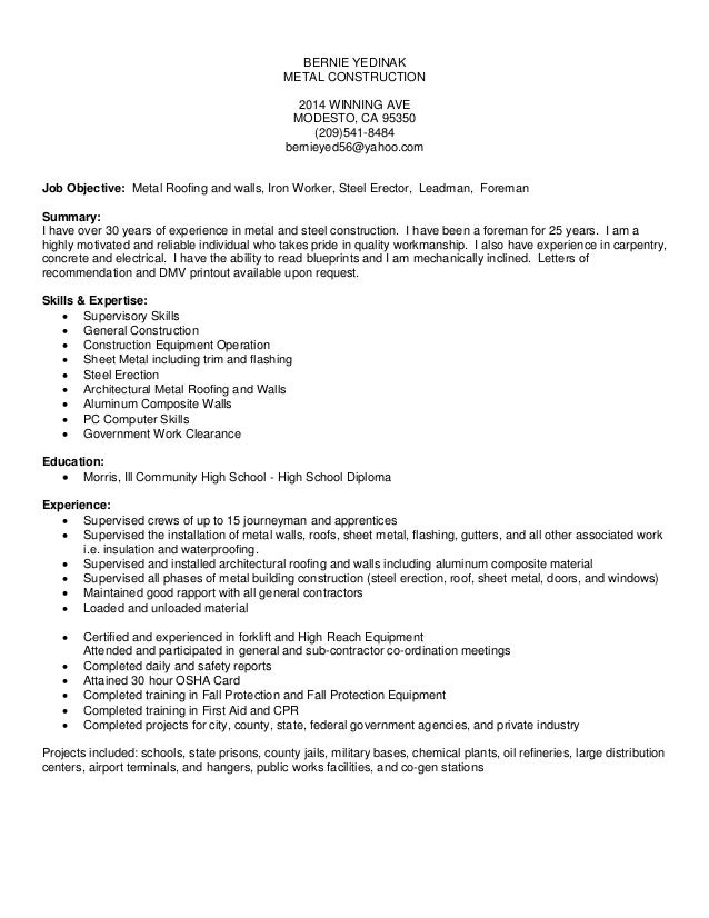 bernie yedinak resume 2014 microsoft office