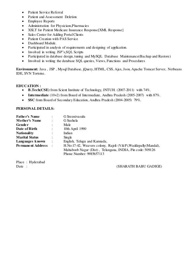 ... Quality Assurance; 3.  Technical Lead Resume